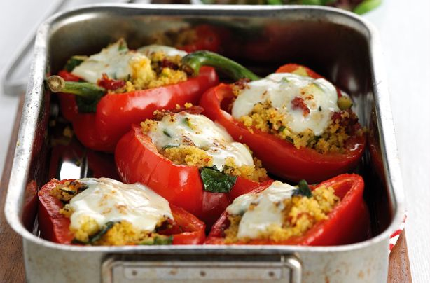 This delicious stuffed peppers recipe make a colourful Mediterranean-style dish with sunblush tomatoes and melting mozzarella - and yes, it tastes as good as it looks! Not only does a portion of this recipe equal one of your 5-a-day, it also works out at only 315 calories and 0.4g salt per serving. These stuffed peppers are ideal for lunch with a salad or served for dinner with new potatoes and fresh greens. Ready in just 30 mins, our stuffed peppers with couscous, courgette and mozzarella…