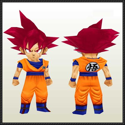 Dragon Ball - Chibi Goku Sayan God Free Papercraft Download - http://www.papercraftsquare.com/dragon-ball-chibi-goku-sayan-god-free-papercraft-download.html
