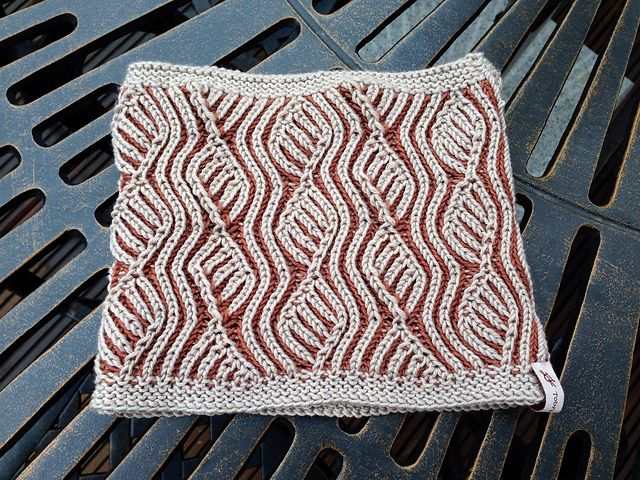 Brioche Vine Cowl by Mercedes Tarasovich-Clark -- only available by taking her Craftsy Class: Brioche Knitting Made Easy. Knitty recommends her as a great instructor.