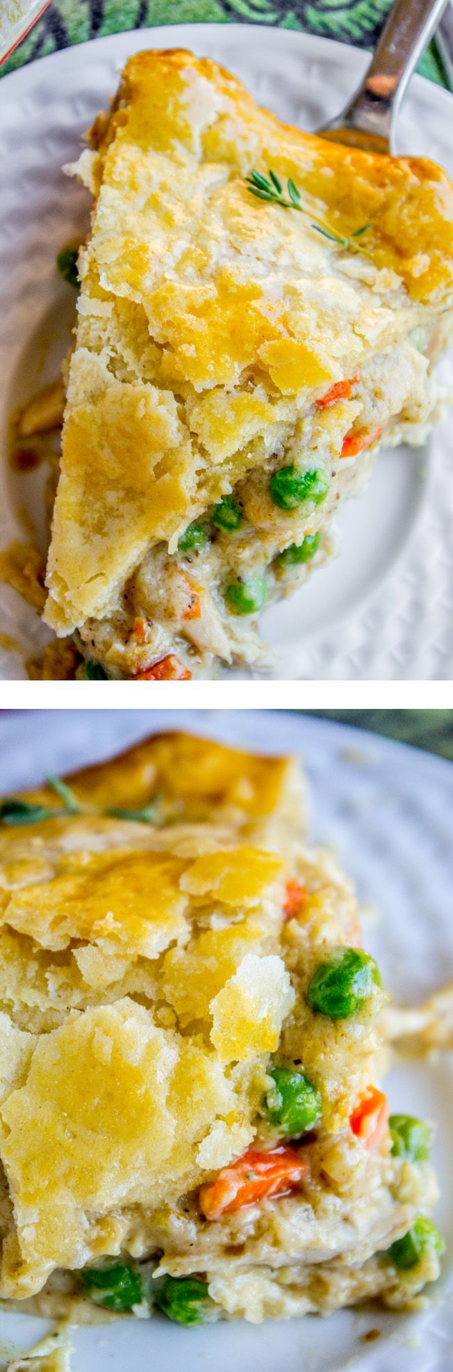 The BEST recipe for Classic Double Crust Chicken Pot Pie! (from The Food Charlatan) Carrots, peas, and rotisserie chicken (or use leftover turkey from Thanksgiving!) come together in a deliciously flavorful gravy. All wrapped up in a buttery, flaky pie crust! If you've only tried frozen pot pies from the store...please, I'm begging you, make this. This is comfort food at it's best. You will be eating this for breakfast lunch and dinner...at least I did.