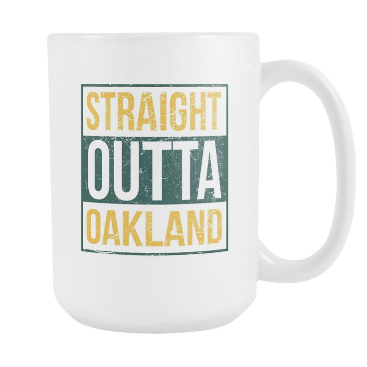 Straight Outta Oakland Baseball Coffee Mug, 15 Ounce