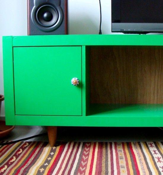 Ikea Hack: Expedit (/could use a Kallax) bookshelf into a TV console :)