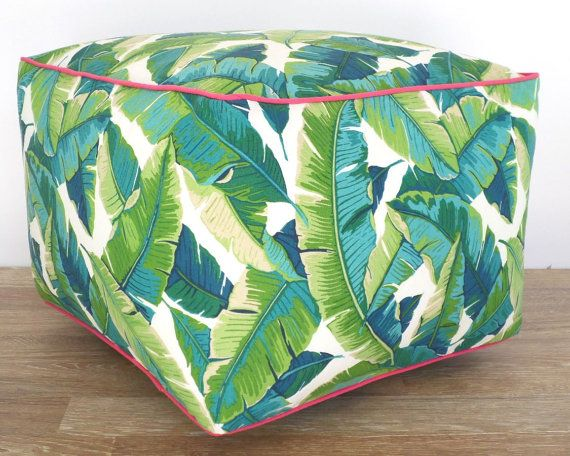 This colorful and bright bean bag chair is made with durable indoor/outdoor fabric. The large square pouf ottoman comes in a palm leaf print and