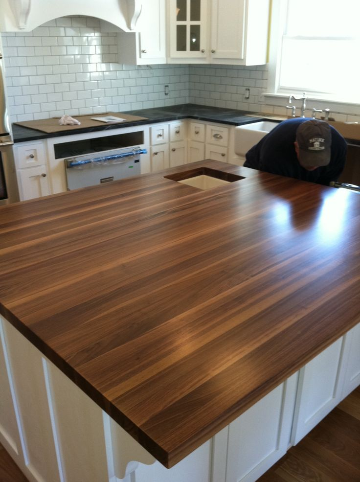 White Kitchen With Walnut Butcher Block Countertop : This is the John Boos walnut butcher block that is my island top. I ordered it here: www ...