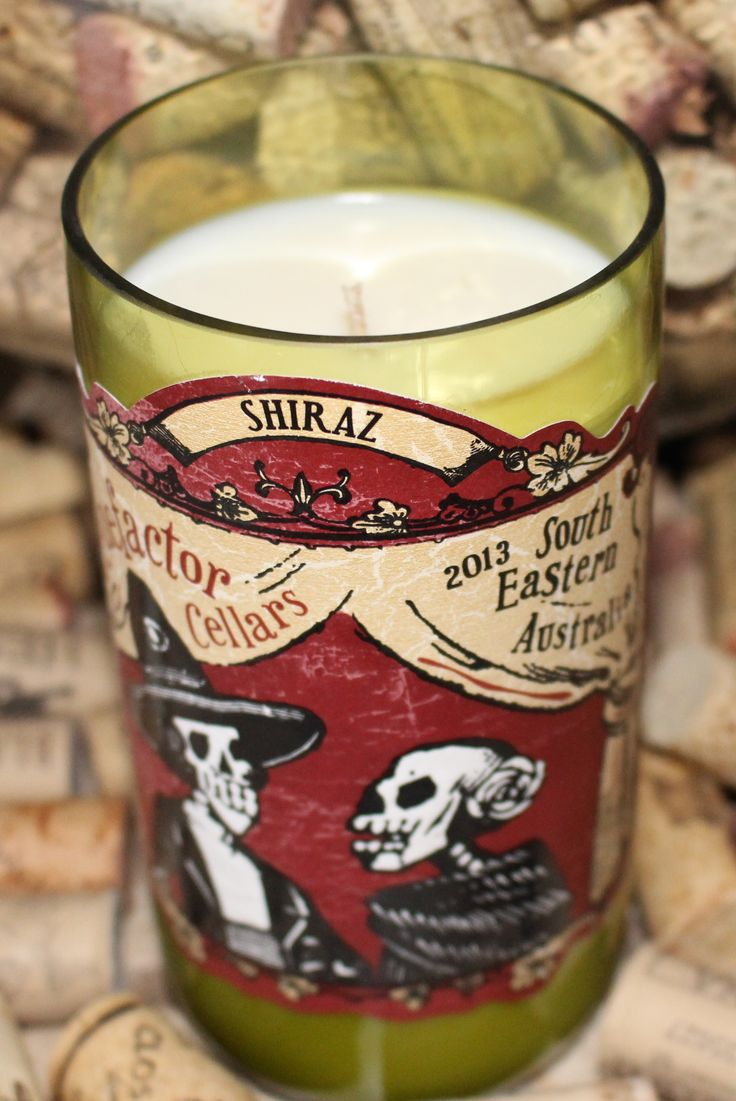 Benefactor Cellars Shiraz Soy Wax Scented Candles Repurposed Wine Bottles Scented Soy Wax
