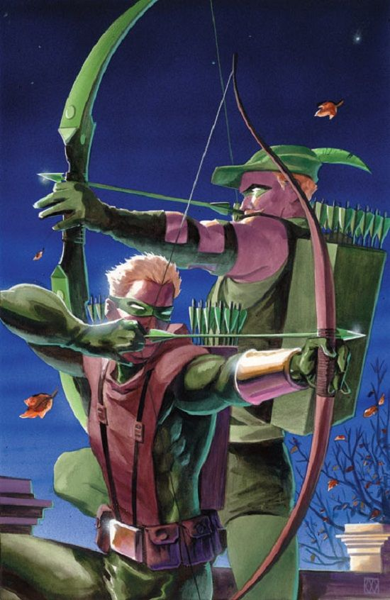 Green Arrow // and I'm assuming Speedy. I don't know who the artist is but I like Speedy's costume.