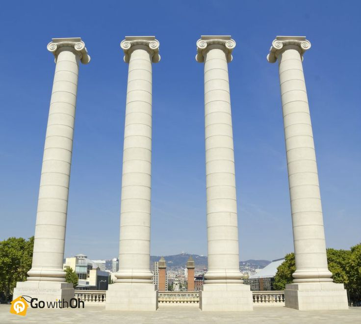 Take a guess!  These 4 columns near the National Art Museum are symbolic of: A. The stripes of the Catalan flag B. The FC Barcelona uniform stripes C. The four stages of Catalunya's history  #Barcelona #GowithOh