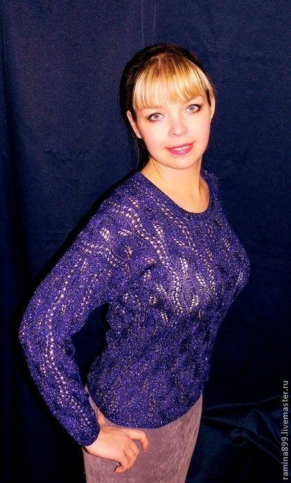 Кофта вязаная женская вискоза шерсть люрекс Магический синий - тёмно-синий