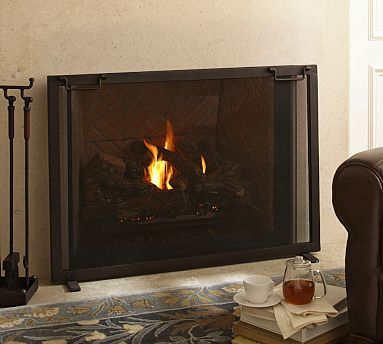 Industrial Single Screen Fireplace Collection #potterybarn