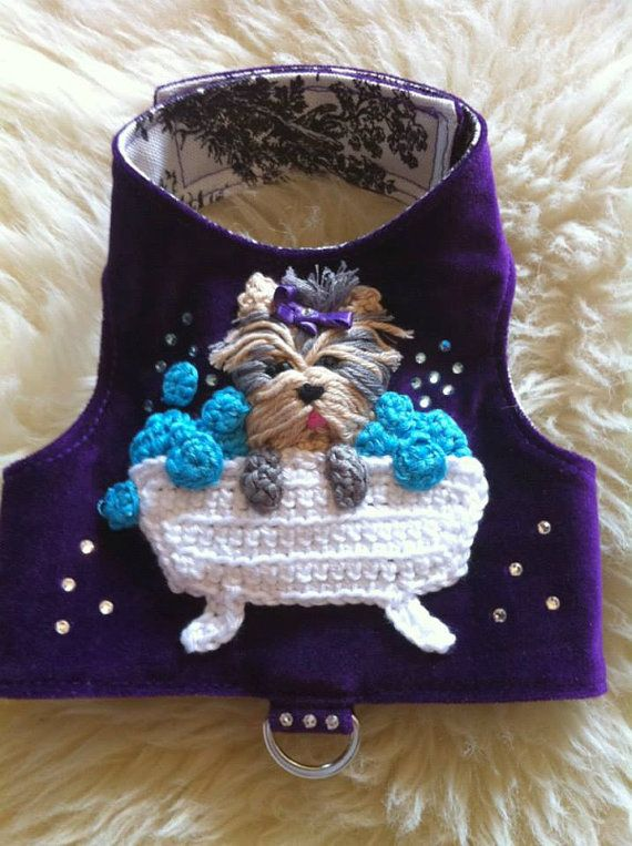 Hey, I found this really awesome Etsy listing at https://www.etsy.com/listing/184889505/small-dog-harness-yorkie-in-a-bathtub