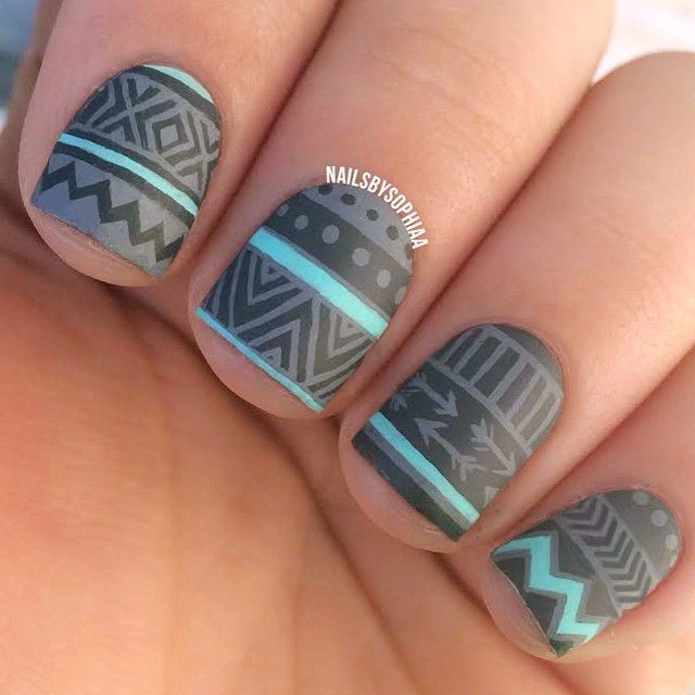 """Love this matte grey and mint tribal """