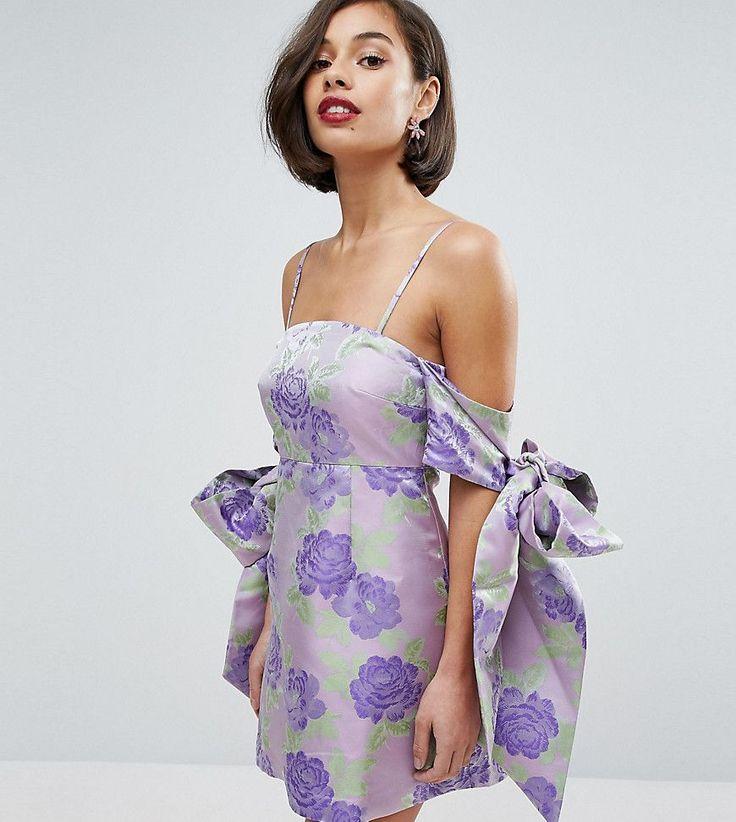 ASOS PETITE SALON Jacquard Bow Tie Cold Shoulder Empire Mini Dress - P