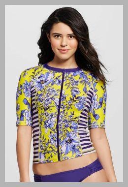 Womens Floral Short-Sleeve Zip-Up Rashguard - Sea Angel - Price History