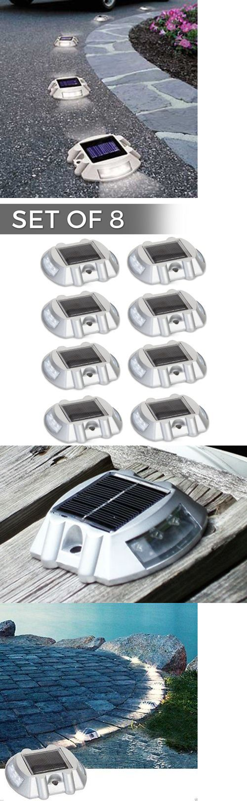 Solar power round recessed deck dock pathway garden led light ebay - Landscape And Walkway Lights 94940 8 Pack Solar Led Markers For Pathway Driveway Lights Dock