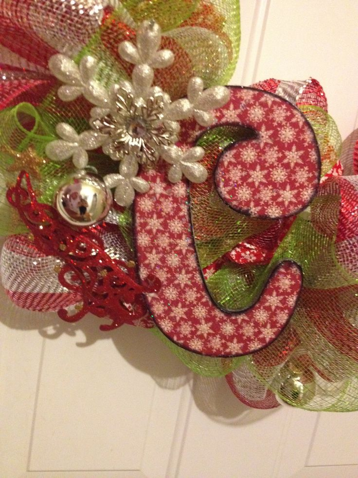 Initial for custom made mesh wreath! Unfinished wood letter... Some scrapbook paper, mod podge (best stuff ever) and some paint!