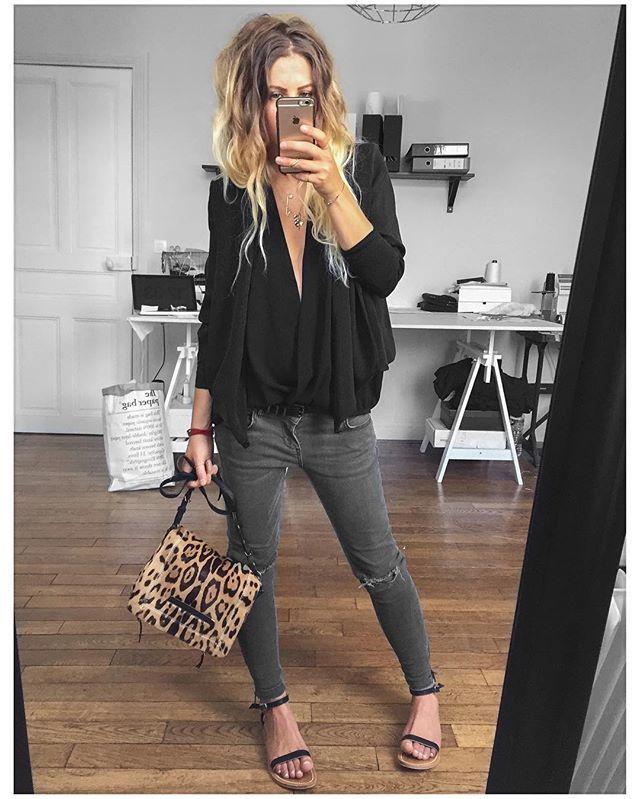 """3,361 Likes, 31 Comments - Mélanie Delhaye (@meleponym) on Instagram: """"Veste #bashparis sur @bashparis chemise #Zara (old) Jean #aninebing sur @cyrielleforkure baskets…"""""""