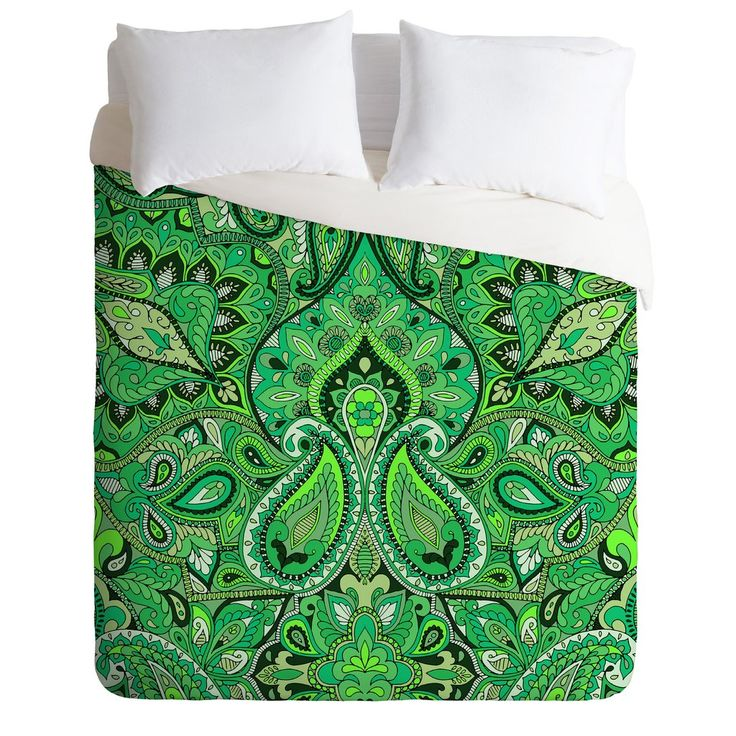 Aimee St Hill Paisley Green Duvet Cover | DENY Designs Home Accessories