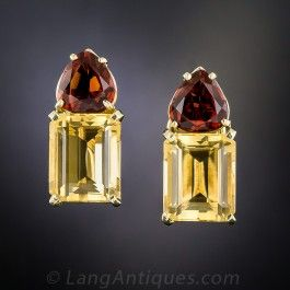 Mid-Century Golden and Madeira Citrine Earrings