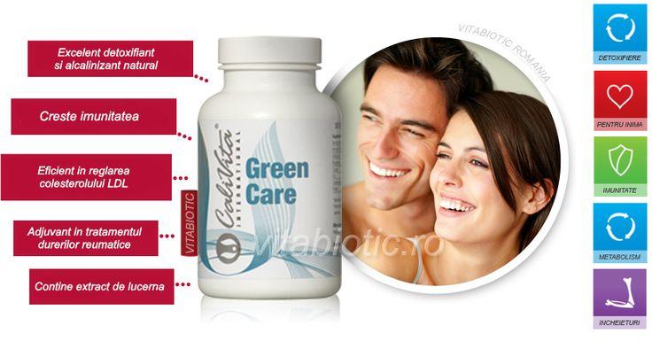 Ingredientul principal din Green Care este lucerna, excelentă pentru detoxifiere şi alcalizare, datorită conţinutului său ridicat de clorofilă. Este o adevărată magazie de nutrienţi: conţine câteva vitamine (C, D, E, K, B), betacaroten, minerale (calciu, fier, potasiu, fosfor) şi aminoacizi esenţiali, care toţi stimulează sănătatea proceselor fiziologice din organism.
