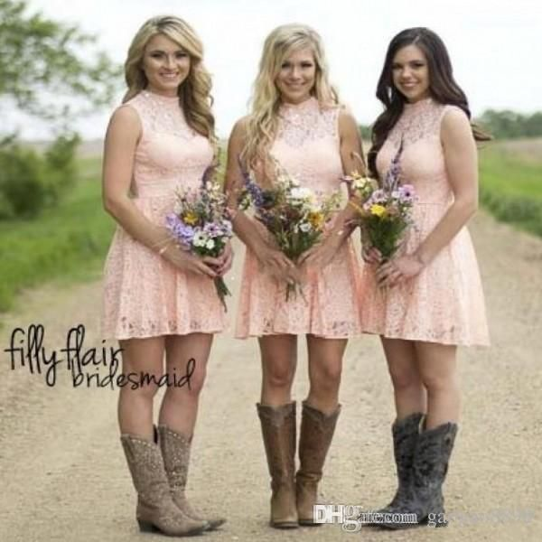 blush lace short country bridesmaid dress