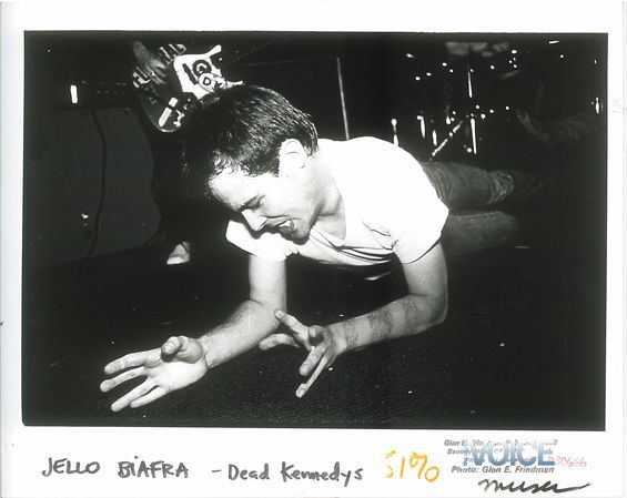 Jello Biafra of the Dead Kennedys, writhing around on stage in this classic photo.