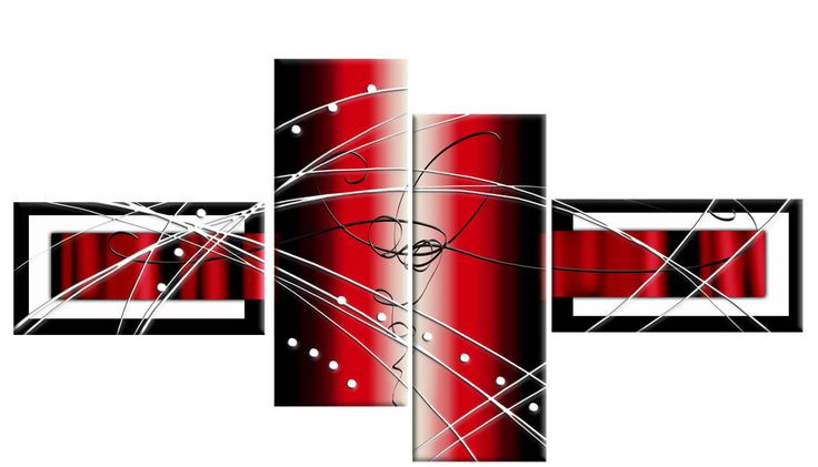 """LARGE RED BLACK WHITE ABSTRACT CANVAS ARTWORK PICTURE MULTI 4 PANEL 57"""" (146 cm)"""