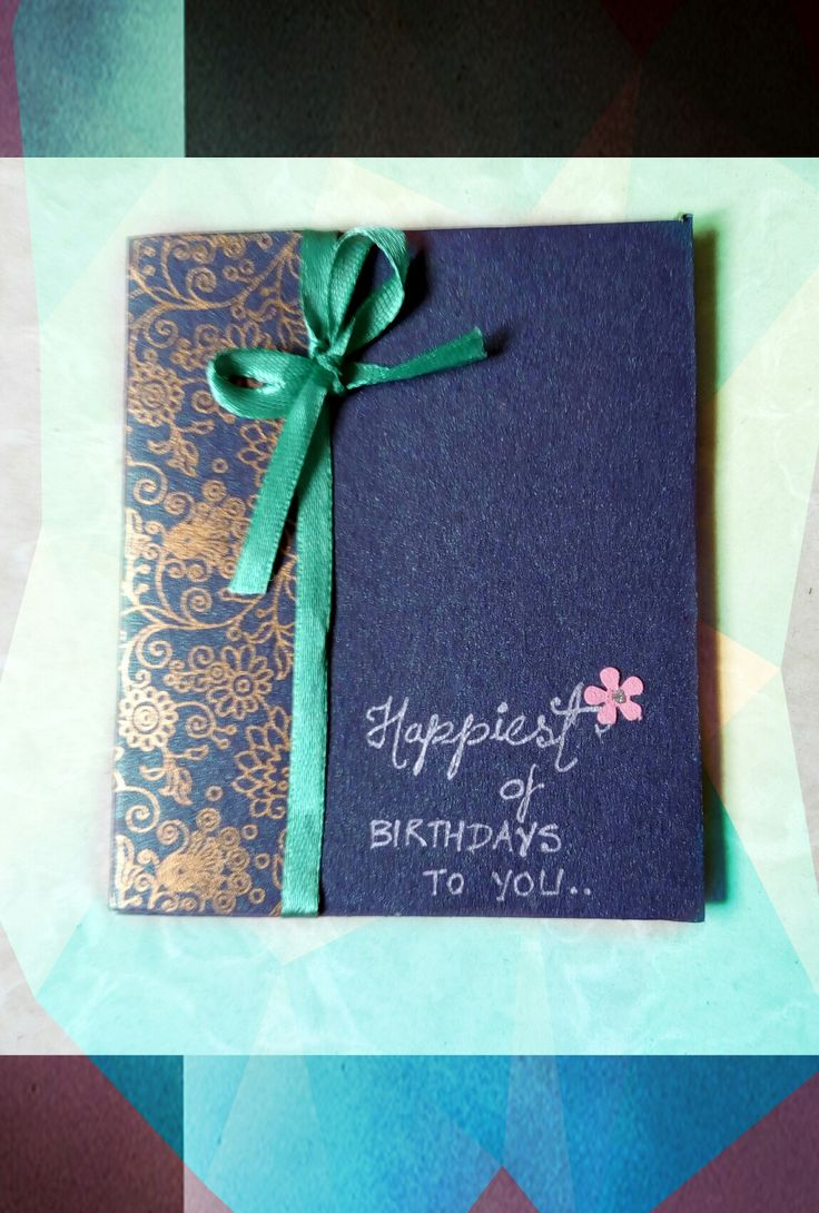 Handmade card #9 : A ribbon tied on the simple card makes it more adorable..