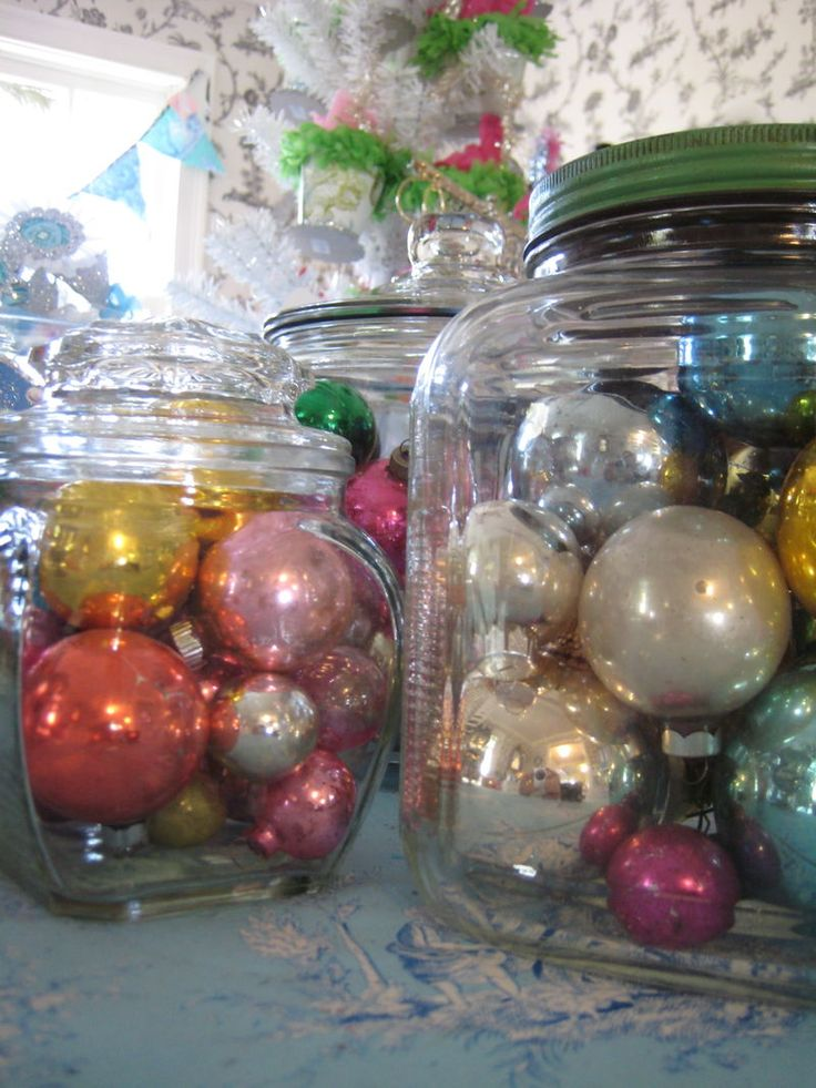Jars of vintage glass baubles i love christmas Christmas bauble storage