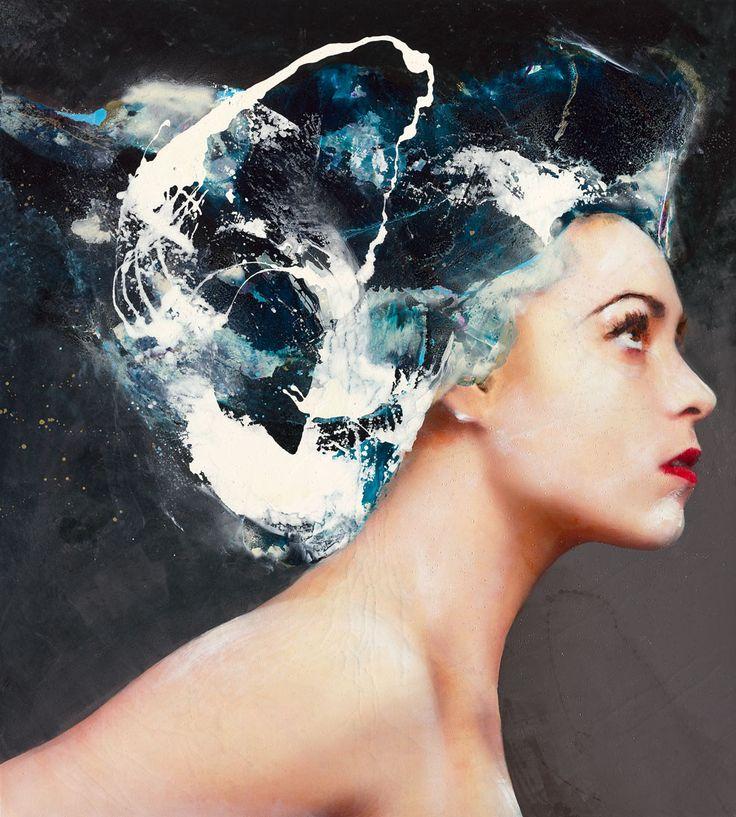 Lita Cabellut - Contemporary Artist - Modern Figurative Painting  - Coral Flower