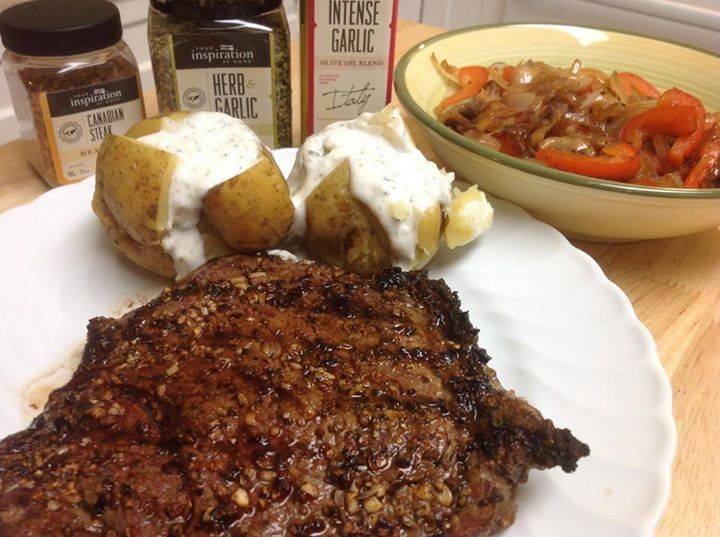 BBQ steak rubbed with YIAH Canadian Meat Rub, mushrooms, onions and peppers sautéed in YIAH Intense Garlic EVOO and baked potatoes topped with YIAH Herb and Garlic Dip. Simple but delicious!  #YIAH