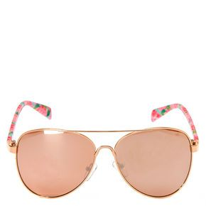 Rose Pattern Mirrored Sunglasses,