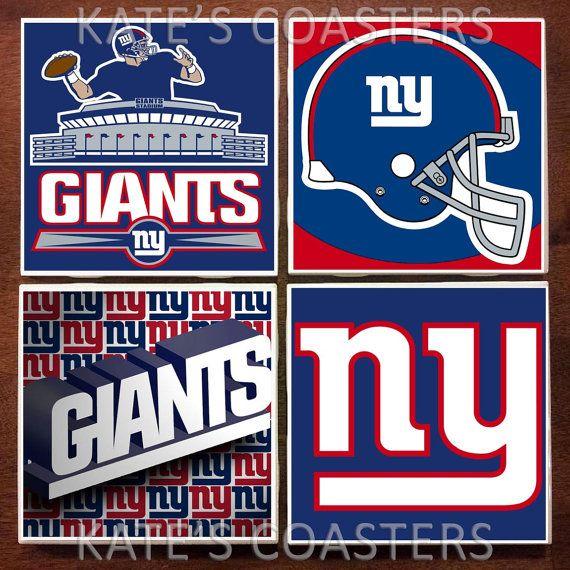 Set of 4 New York Giants football NFL ceramic coasters by KatesCoasters, $10.00
