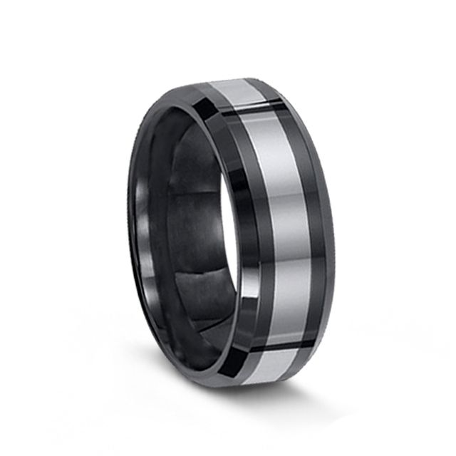 Black Ceramic Tungsten Carbide Men's Ring