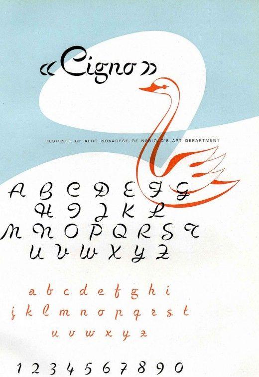 Aldo Novarese, Cigno, Font, 1954