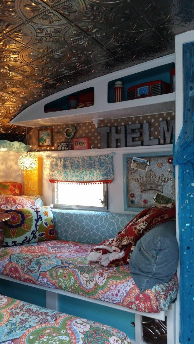 Love that ceiling vintage camper trailer interiors