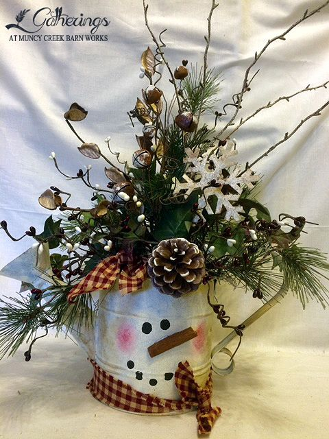 SNOWMAN WATER CAN | from Gatherings at Muncy Creek Barn Works