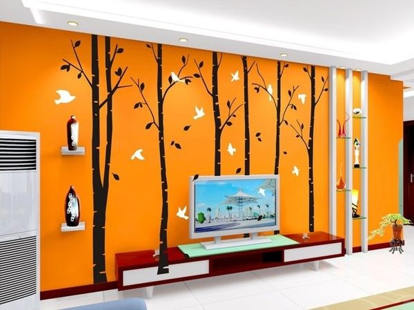 'large tree wall decals vinyl wall art wall stickers'  Want these or the flowers on my orange wall bedroom