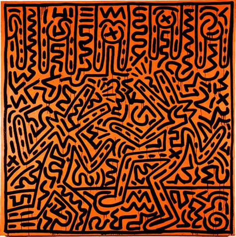 Untitled, 1982  marker ink and acrylic on found canvas  86 x 86 inches   218.44 x 218.44 cm