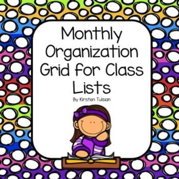 FREE Monthly Themed Class Grids for January-June!  Use them to check off assignments, take attendance, or track progress!