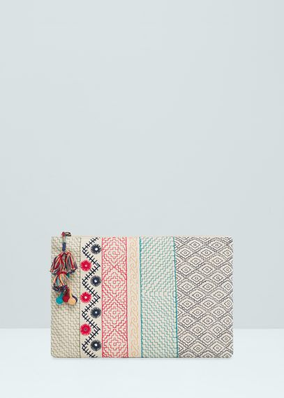 Clutch mit ethno-stickerei | MANGO
