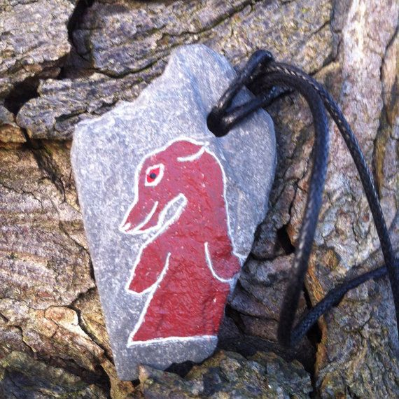 Rhynie deer Pictish pendant hand carved on by SunhoneyDesigns