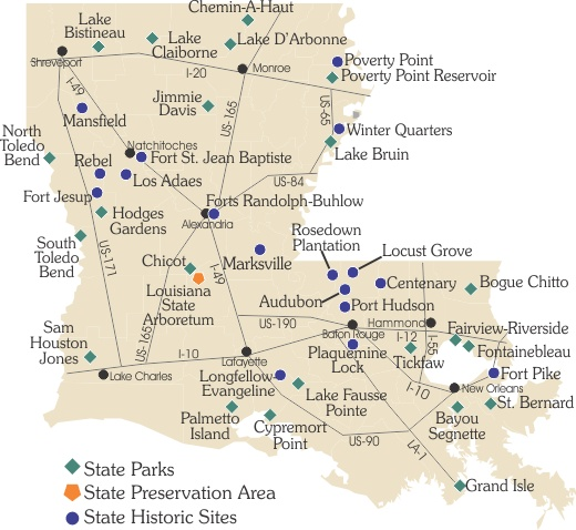 Map of Louisiana State Parks, Historic Sites and Preservation Area