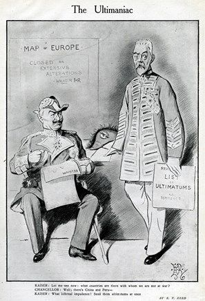 Cartoon, The Ultimaniac, showing a discussion between Kaiser Wilhelm II (seated, left) and his Chancellor, Theobald von Bethmann-Hollweg. When the Kaiser discovers that they are not yet at war with China and Peru, he demands that they be sent ultimatums at once.