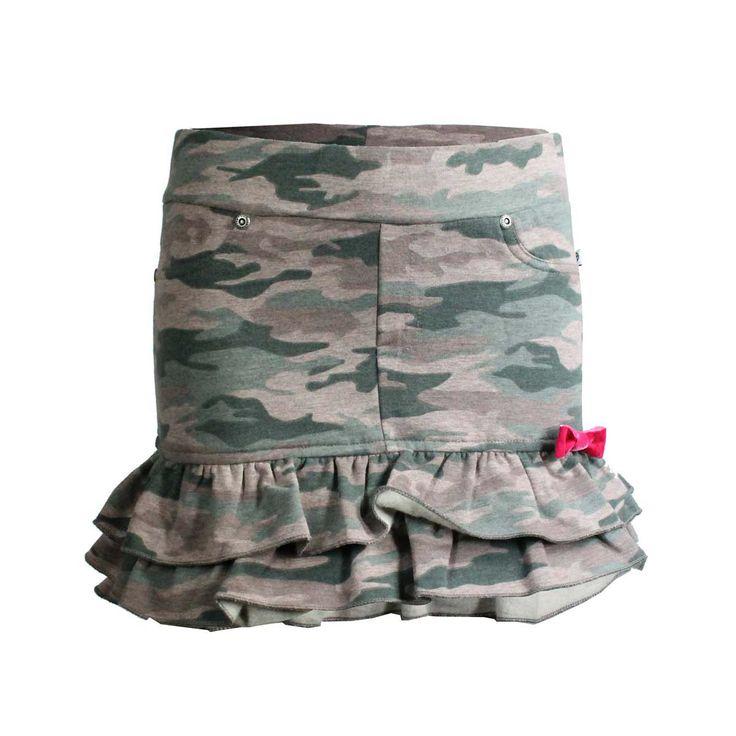Mooi rokje voor de meisjes met camouflage print. Meer leuke dingen op www.rhiva.be
