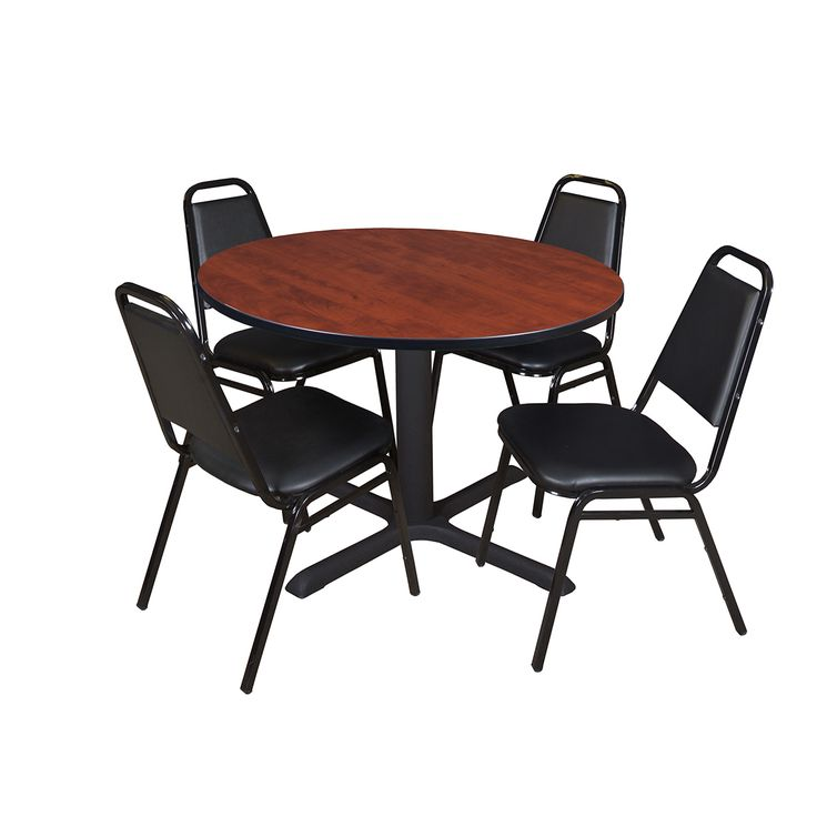 Cain 48 inch Round Breakroom Table, Multiple Colors and 4 Black