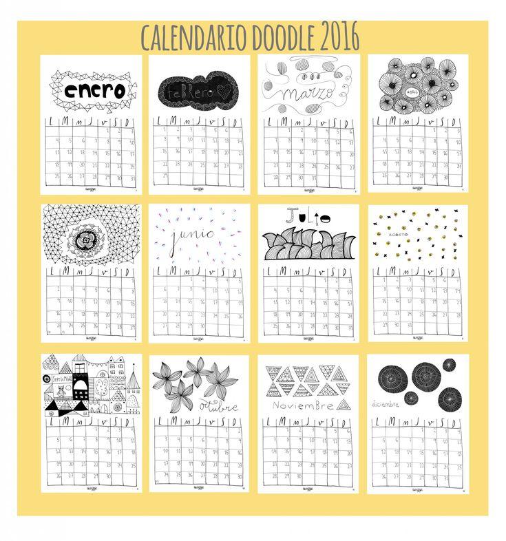 Calendario 2016 doodle descargable: personalízalo! - HavingFun, diseños creativos para mentes inquietas