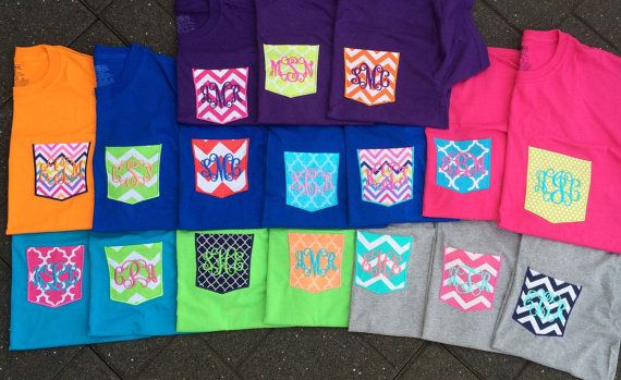 Monogrammed Pocket Tee Shirts by Brookles13 on Etsy