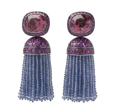A Pair of Spinel and Sapphire Tassel Ear Pendants, by Hemmerle. Via FD Gallery, www.fd-inspired.com