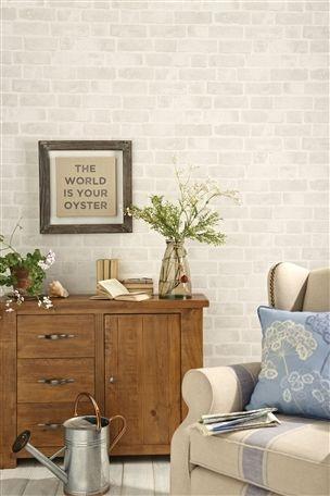 White brick wallpaper in living room #wallpaper