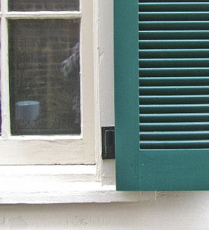 Surface mounted shutter hinge. Hinge throw is about 1 inch from window casing to allow space for pintle. Window casing is partially visible. 1830 – present.